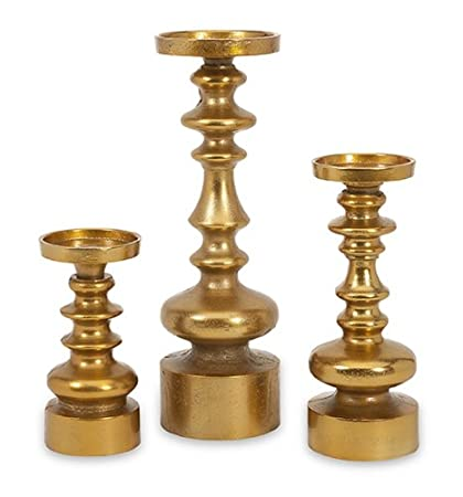 Modern Metallic Gold Tone Sculpted Pillar Candle Holders Set of 3 by CC Home Furnishings