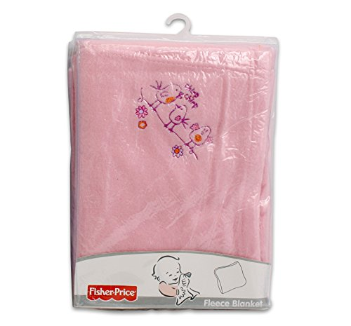 "FISHER-PRICE Girls Pink Baby EMBROIDERED FLEECE BLANKET 30"" x 40"" Tall"
