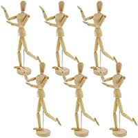 "US Art Supply® Wood 8"" Artist Drawing Manikin Articulated Mannequin with Base and Flexible Body - Perfect For Drawing the Human Figure (Choose Male or Female Below) (8"" Male) Pack of 6 Manikins from US Art Supply"