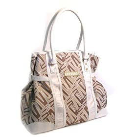 Versace Large Tan & White Handbag