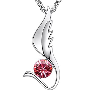 Pink Crystal Angel Wing Pendant Necklace Made With Swarovski Elements