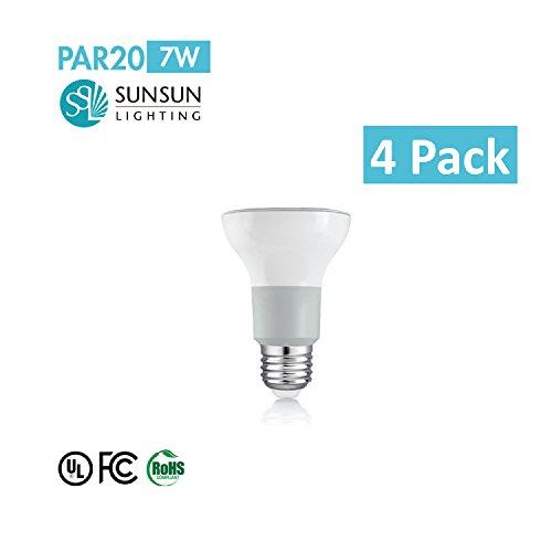 4-Pack Sunsun Lighting Si-Par20D07-27Wh/36 Par20 Led Dimmable Spot Light Bulb, Warm White