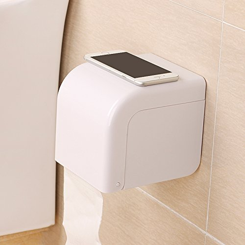 ASSIS Powerful Suction Cup Toilet Roll Holder Waterproof Toilet Paper Frame Toilet Paper Tissue Holder-White (Toilet Roll Holder Commercial compare prices)