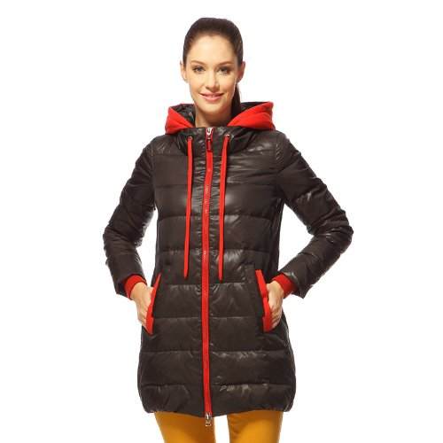 Bosideng 2013 Hooded Middle Length Dark Gray Women Down Jacket B1201080 165/88A