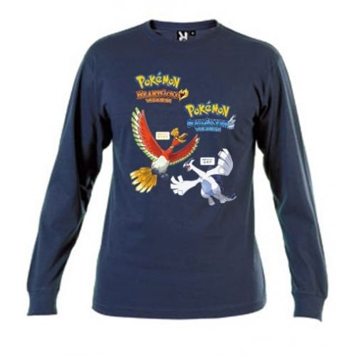 Camiseta-Pokemon-Oro-Y-Plata-Azul-Marino-Manga-Larga