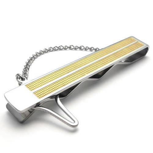 Konov High Quality Stainless Steel Tie Clip Men's Necktie Tie Bar, Color Gold Silver 2-Tone (with Gift Bag)