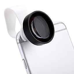 SODIAL(R) Detachable Clip-on 25¡ã 5X Teleconverter Lens Kit for iPhone 6 5 Samsung Xiaomi Sony iPad Mini