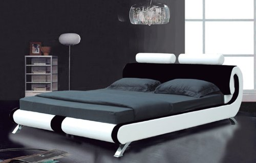 Italian Designer Double Black and White Faux Leather Scroll Bed