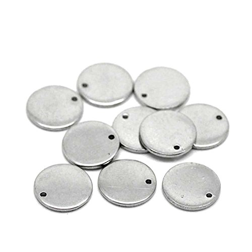 Beadthoven 100pcs 304 Stainless Steel Blank Stamping Tag Pendants for Bracelet Earring Pendant Charms, Flat Round, 10x0.6mm (Steel Stamping Blanks compare prices)