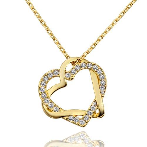 Marenja-Moda-Collar-Gargantilla-45-50cm-chapado-en-oro-con-colgante-de-doble-corazn-entrelazado-cristal