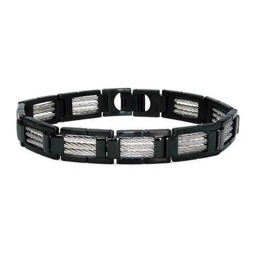 Black Plated Stainless Steel Link Bracelet with Braided Accents (12mm) - 8.5 Inches