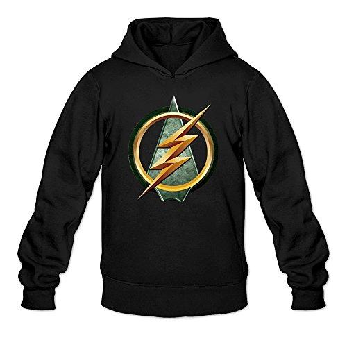 MARY Men's The Flash Arrow Logo Combine Design Hoodie Black (Futurama Season 9 compare prices)