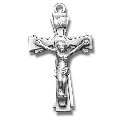 Sterling Silver Medium Rosary Crucifix Cross Medal with 24