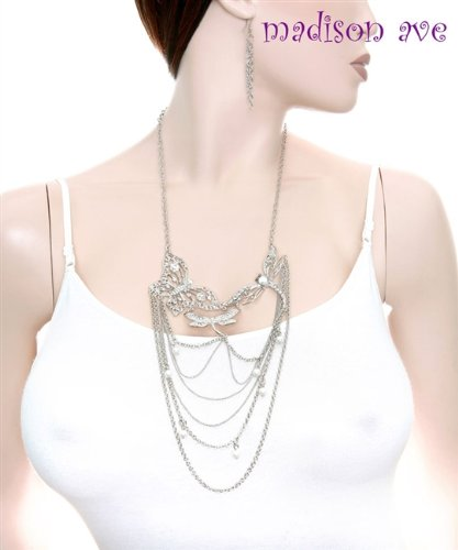 Fashion Rhodium Butterfly with Rhinestone,pearl and Chain Drop Neck./earrig Set