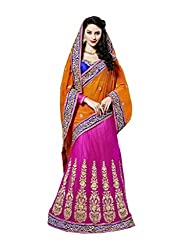 Pink And Orange Net And Georgette Lehenga Choli