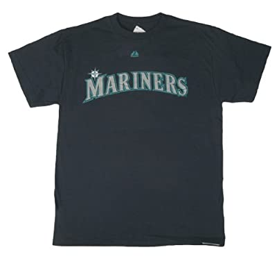 MLB Majestic Seattle Mariners Navy Blue Word Mark T-shirt