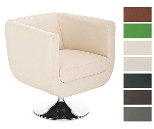 CLP-runder-Design-Leder-Loungesessel-COLORADO-im-Retro-Stil-drehbar-aus-bis-zu-7-Farben-whlen-creme