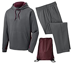 Sport Tek Men\'s Sport Wick Fleece Tracksuit, 3XL, Maroon/Smoke Grey