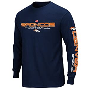 NFL Denver Broncos Primary Receiver III Long Sleeve T-Shirt - Navy Blue from Nutmeg