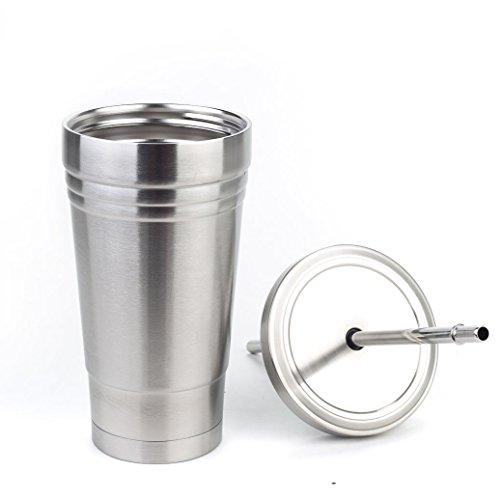Tosnail 17 oz. Double Walled Stainless Steel Tumbler Insulated Travel Mug with Stainless Lid & Straw - for Hot/Cold Drinks