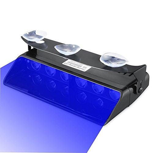 Emergency Lights, 16 Flashing Modes Bright Blue LED Warning Strobe Lighting for Vehicle Dash Windshield, Black (Led Blue Emergency Lights compare prices)