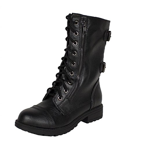 Soda Dome Mid Calf Height Women'S Military / Combat Boots, Black, 9