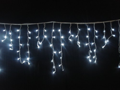 5 METRE WHITE LED ICICLE LIGHTS 240 LEDS WITH 8 FUNCTIONS ** FULLY WATERPROOF ITEM IDEAL FOR CHRISTMAS DECORATIONS, XMAS LIGHTS, ETC **