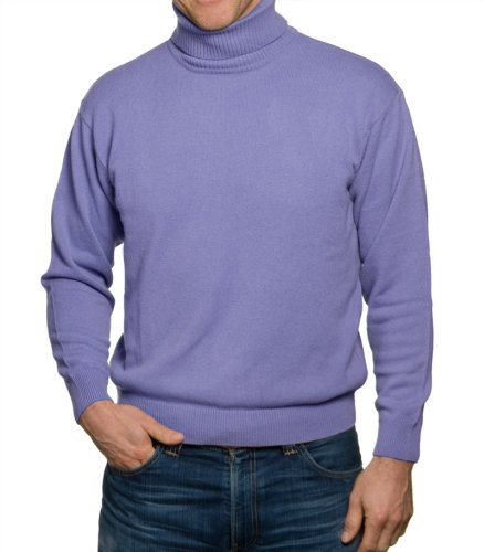 Mens Lambswool Polo Neck Jumper Lilac Medium