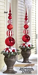Amazon.com - Collections Etc - Red & White Christmas Ornament Ball Finial Topiary Stake ...
