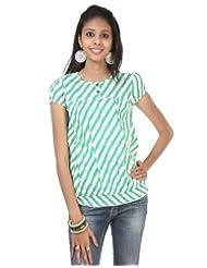 Rajrang Cotton White, Green Screen Printed Tunic Top Size: M