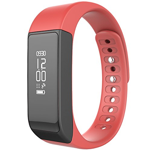 Juboury Wireless Activity Fitness Tracker Smart Band Bluetooth Pedometer Sports Bracelet with Sleep Monitor Calories Consumption (Bright-red)