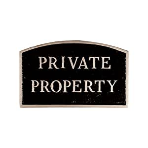 Montague Metal Products SP-17L-BS Private Property Arch Statement Plaque, Large, Black and Silver