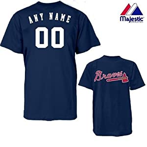 Atlanta Braves Personalized Custom (Add Name & Number) 100% Cotton T-Shirt... by Authentic Sports Shop
