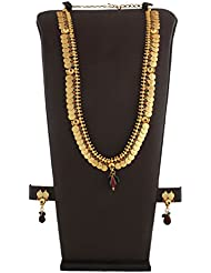 Anuradha Art Golden Finish Beautiful Styled With Polki Stone Traditional Long Necklace Set For Women/Girls