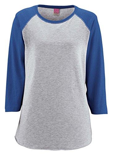 LAT Ladies' Vintage Fine Jersey Baseball T-Shirt L Vn Hthr/Vn Royal