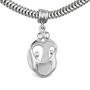 Loving Family® Sterling Silver Heart Gift Charm Parents and 2 Children - Fits Pandora European Charm Bracelets