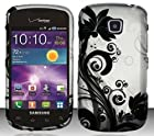 Samsung Illusion / Galaxy Proclaim i110 (Verizon/Straight Talk) Black/Silver Vines Design Snap On Hard Case Protector Cover + Free Wrist Band