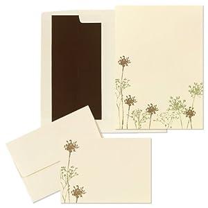 Wedding Invitation Kit Ivory/Brown/Green Flowers 50ct