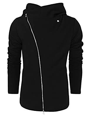 Tom's Ware Mens Stylish Asymmetrical Zip Knit Hoodie Jacket