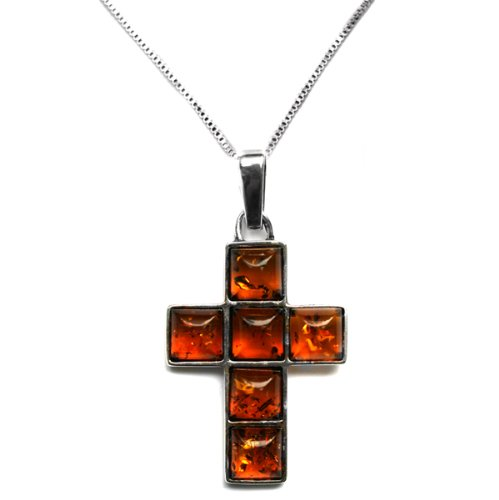 Honey Amber and Sterling Silver Cube Cross Pendant, 18