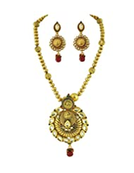 Kundan Gold Antique Antique Ball Polki Necklace Set