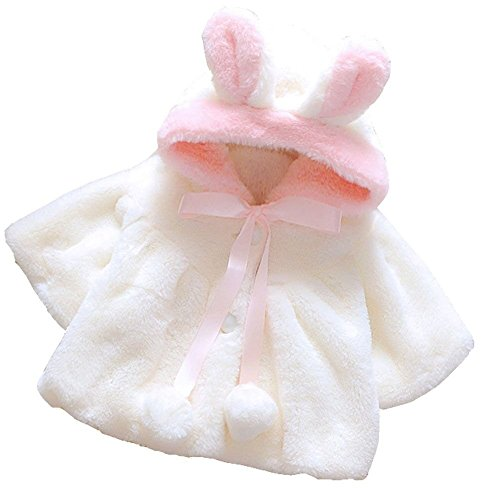 Baby Girl Fur Winter Warm Coat Cloak Jacket Thick Warm Clothes 6-12Months White
