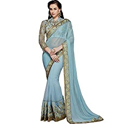 Vasu Saree Haute Turquoise Patch Border Work Designer Bridal Saree