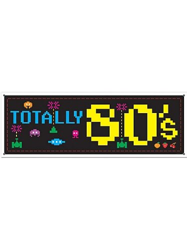 Beistle 57518 1-Pack 80's Sign Banner, 5-Feet by 21-Inch