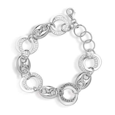 Gucci Inspired Sterling 925 Silver Circle Link Bracelet with Cirlce Greek-Key Interlocking Design(WoW !With Purchase Over $50 Receive A Marcrame Bracelet Free)