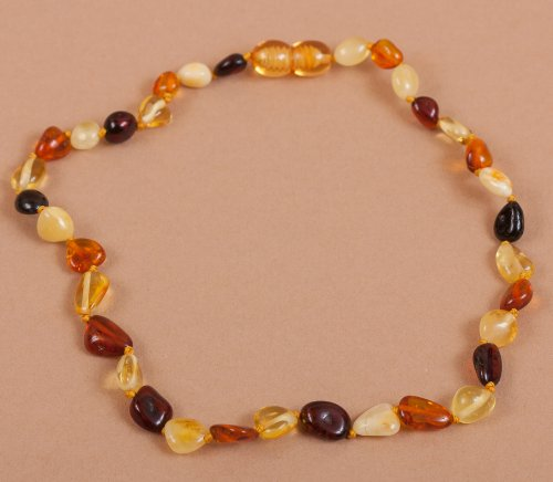 Polished Multicolored Bean Baltic Amber Teething Necklace 13''