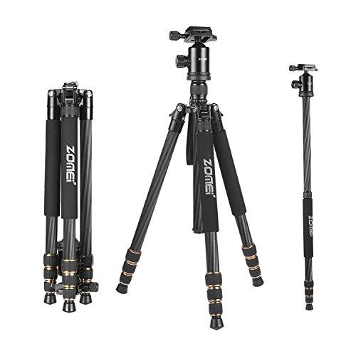 ZOMEi Z668C (Upgraded Version) Portable Carbon Fiber Tripod Pro Monopod+Ball Head and Quick Release Plate for DSLR Camera (Carbon Tripod Legs compare prices)