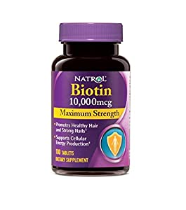 Natrol Biotin, Maximum Strength, 10,000 mcg Tablets, 100 Count (Pack of 2)