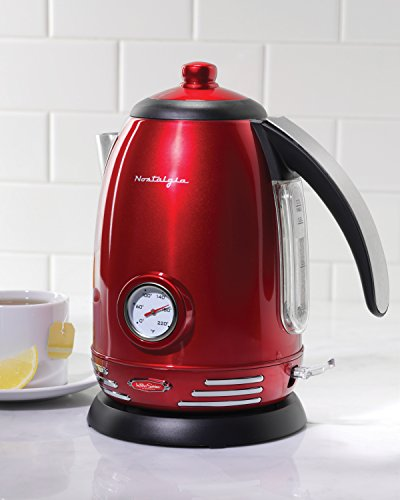 Nostalgia RWK150 Retro Series 1.7-Liter Stainless Steel Electric Water Kettle with Strix Thermostat (Red Kettle Electric compare prices)