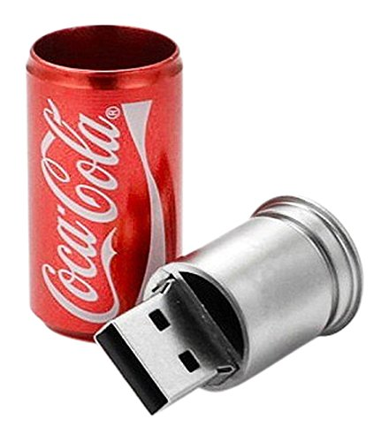Coca Cola Style USB Flash Drive - Data Storage Device - 4GB - Color: Red - Key Ring Included (2014 Coca Cola Cans compare prices)